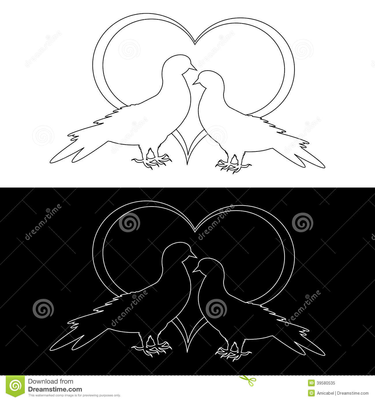 Download Monochrome Contour Silhouette Of Two Doves Stock Vector - Illustration of contour, lovely: 39580535