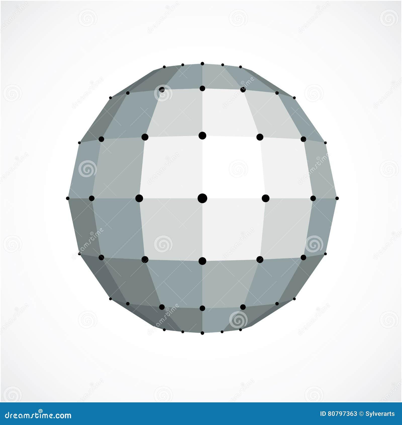 Monochrome Dimensional Low Poly Object, Trigonometry Shap Stock