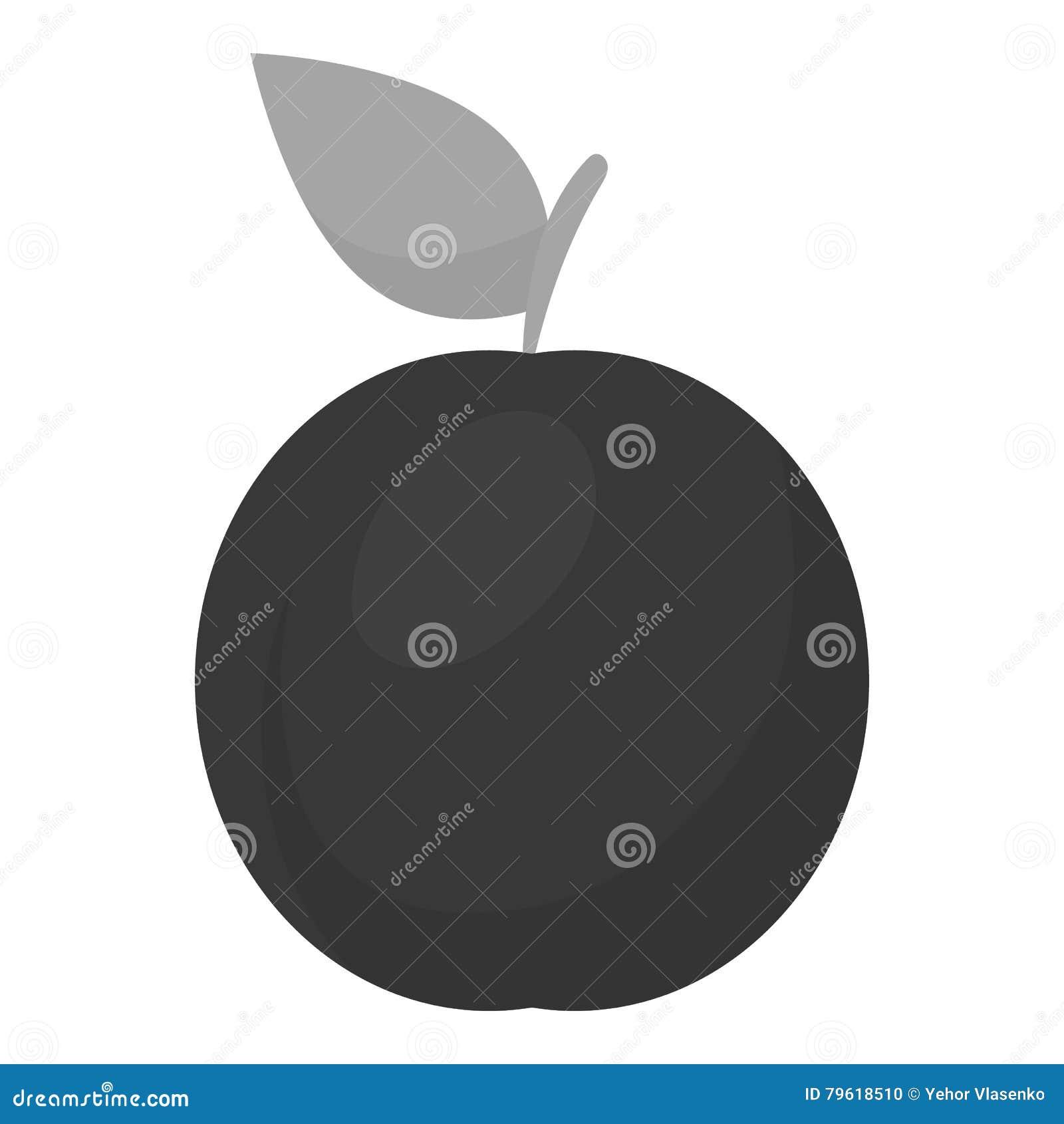 Monochrome do ícone da ameixa Ícone do fruto da chamuscadela