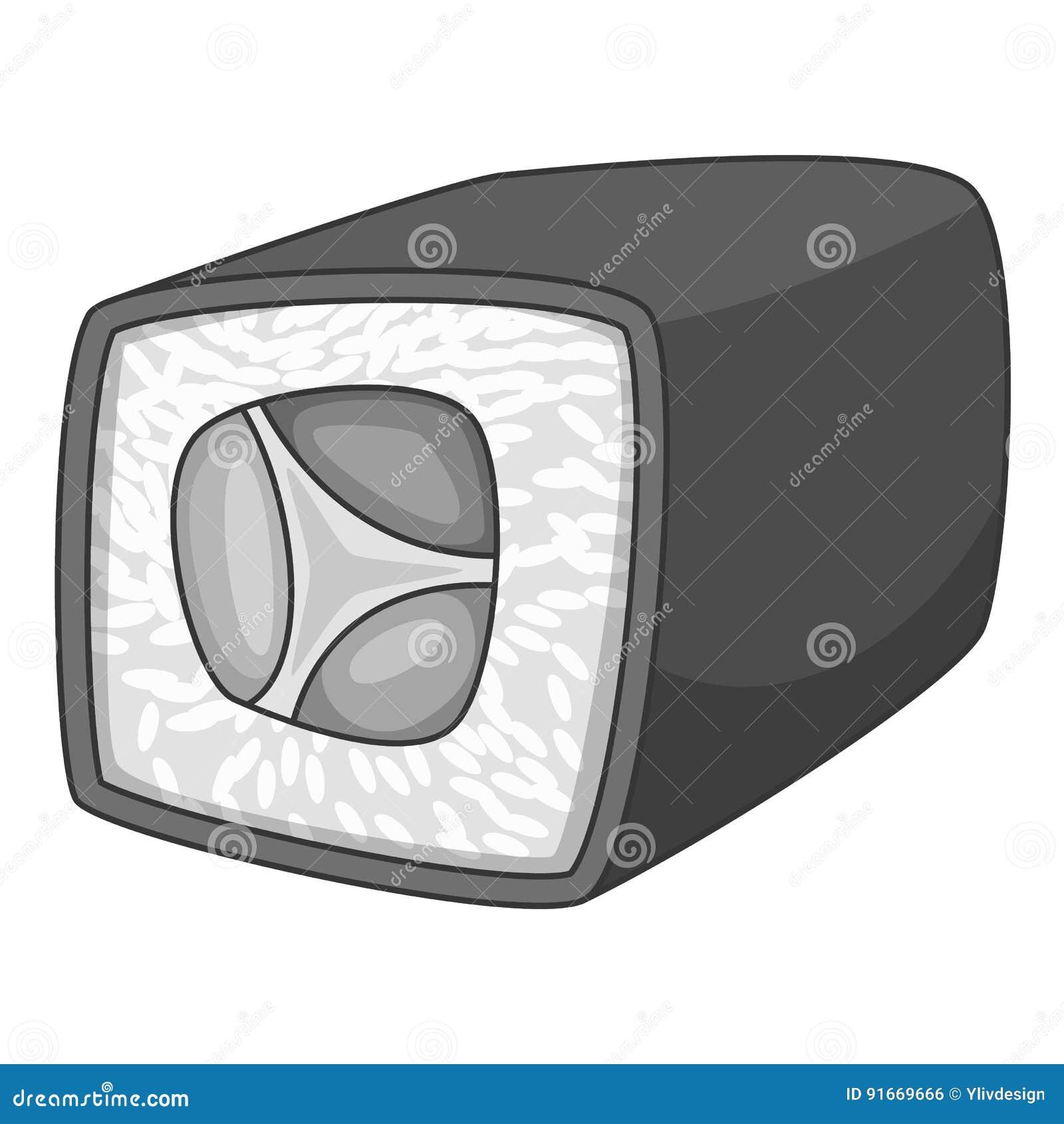 Monochrome do ícone do rolo de sushi de Japão