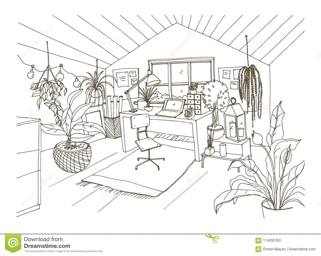 Attic drawing Creepy Monochrome Drawing Of Cozy Cabinet Mansard Or Attic Room Furnished In Modern Scandinavian Hygge Style Dreamstimecom Monochrome Drawing Of Cozy Cabinet Mansard Or Attic Room Furnished