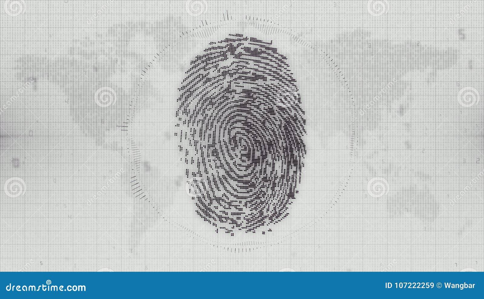Monochrome fingerprint electronic ID on Earth map background