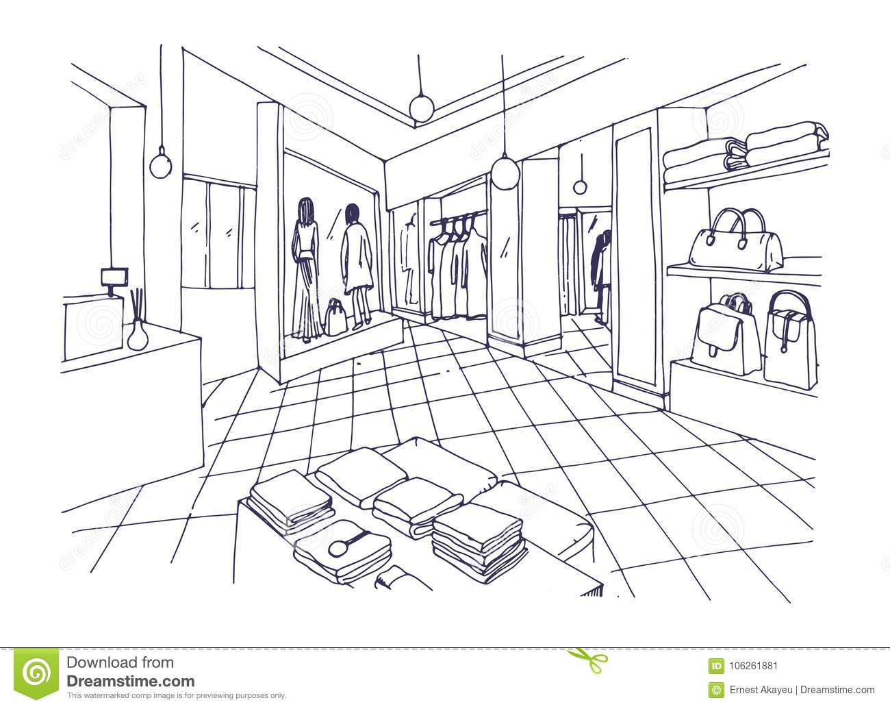 Monochrome Freehand Sketch Of Clothing Showroom Boutique Trendy Fashion Store Or Apparel Shop Interior With Shelving
