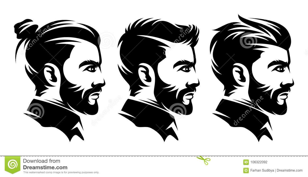 Hairstyle Vector: Set Barbershop Men Hairstyle Illustrations From The Side