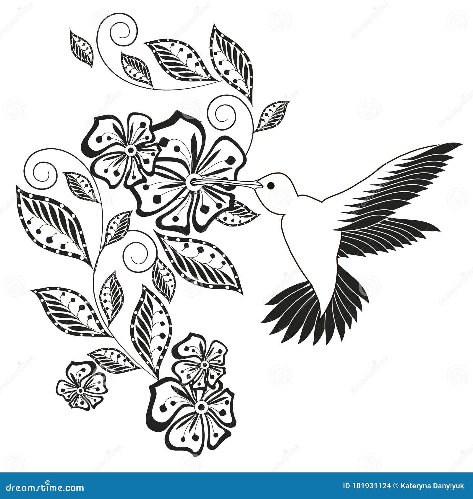 Monochrome Hand Drawn Decorative Floral Element Hummingbird For