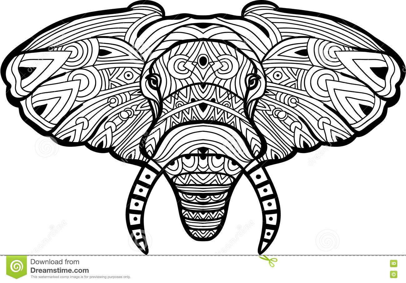 Monochrome Hand-drawn Ink Drawing. Painted Elephant On White ...
