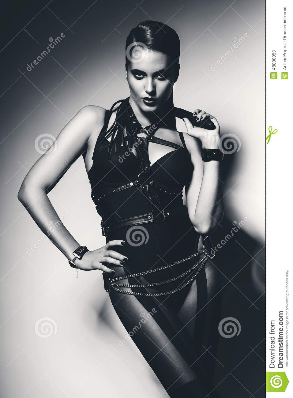 Monochrome Hot Woman With Whip Around Neck