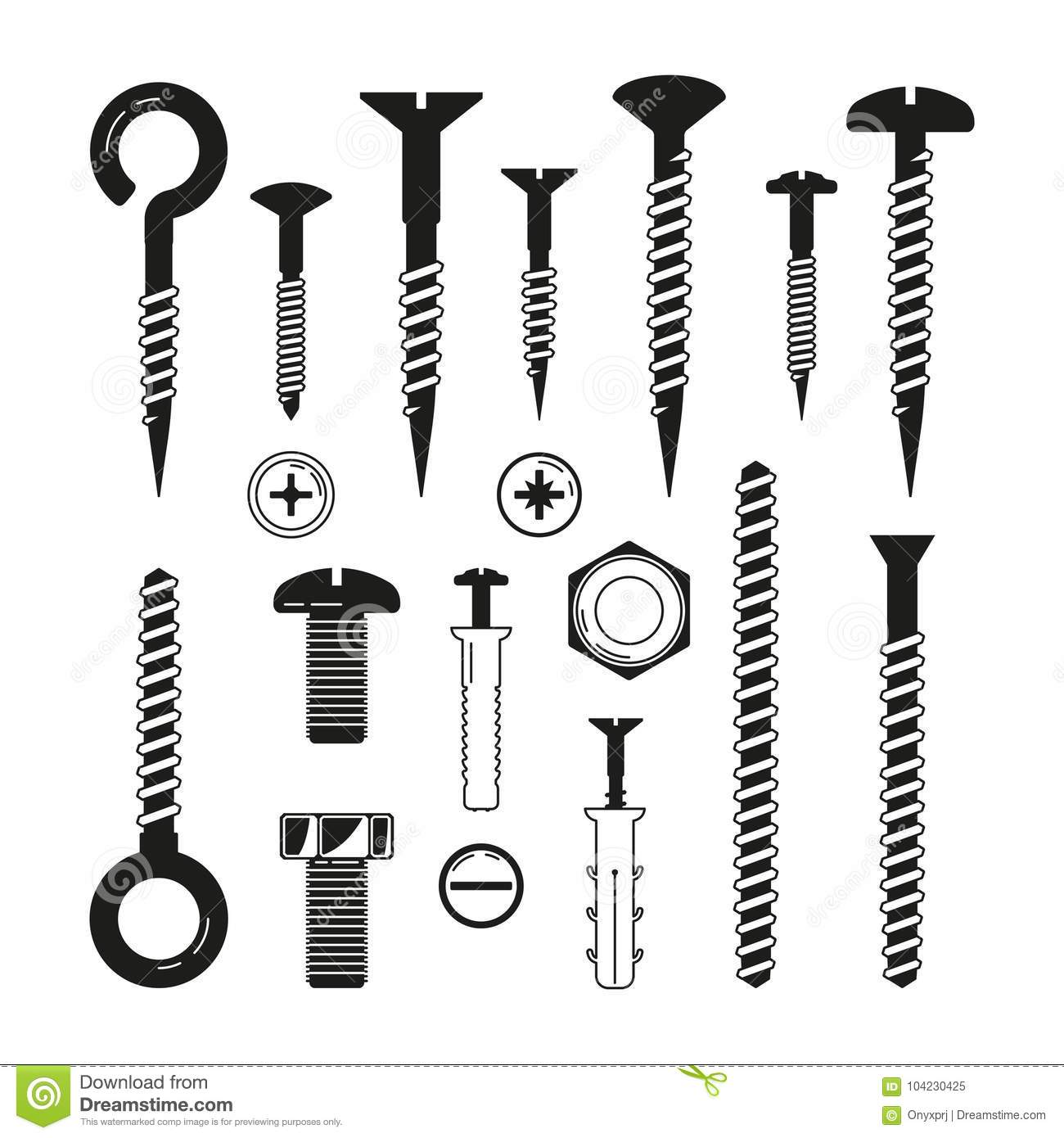 Monochrome illustrations of iron bolts, nuts, screws and others hardware tools