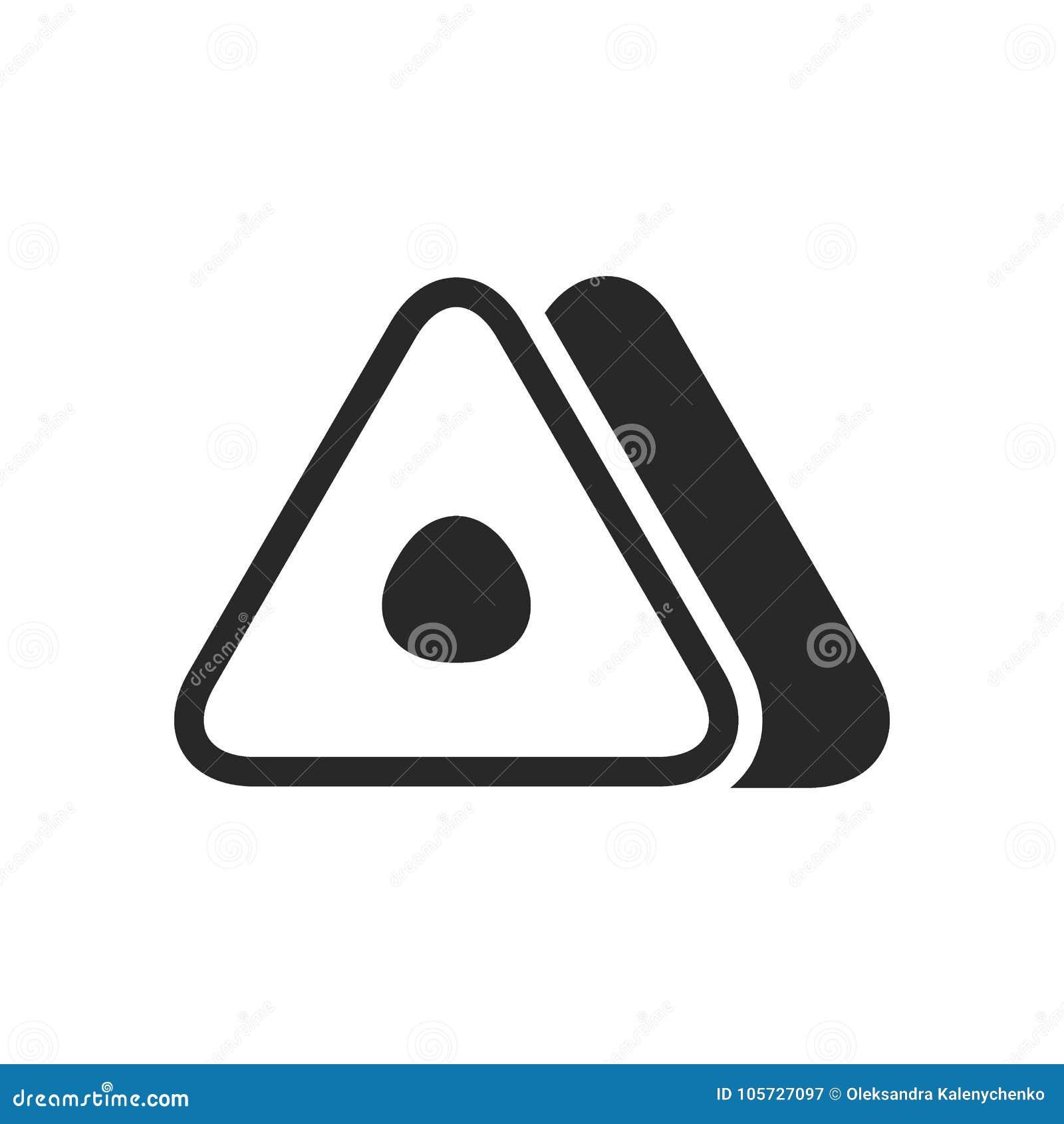 Monochrome japanese triangular roll onigiri icon on white background