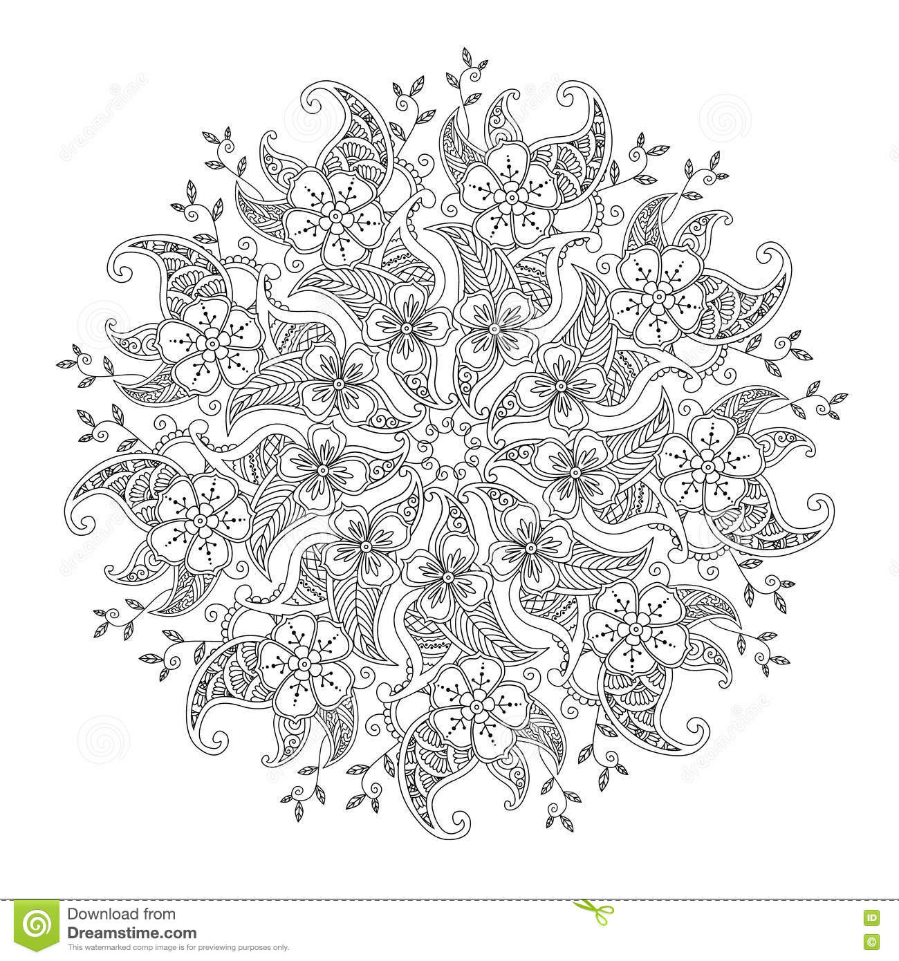 Monochrome Mendie Mandala With Flowers And Leaves Stock Vector