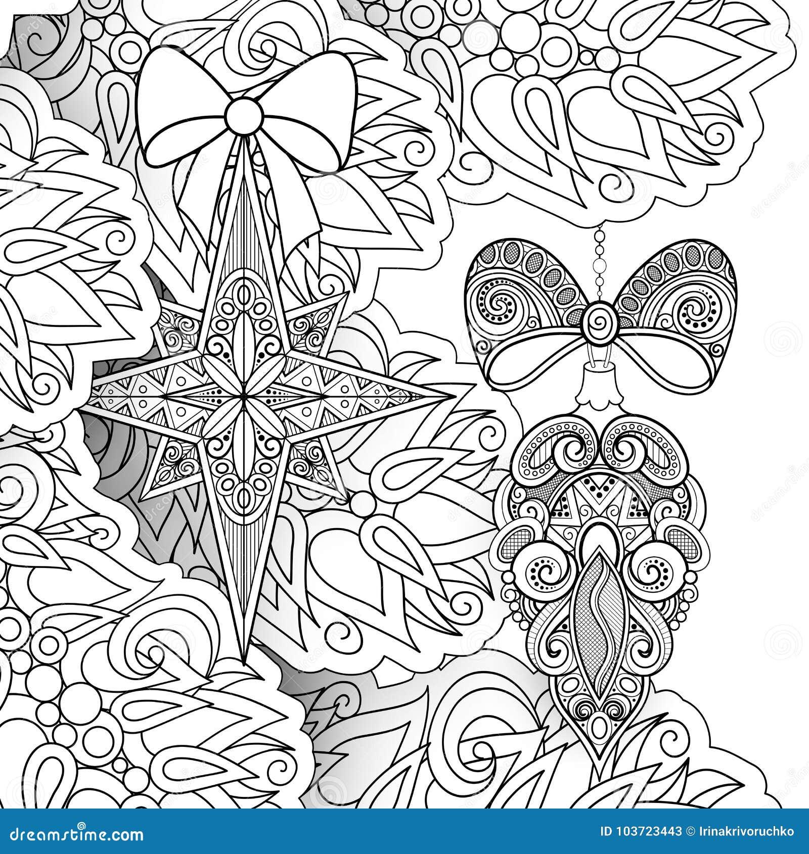 Download Monochrome Merry Christmas Illustration Ethnic Motifs Stock Vector