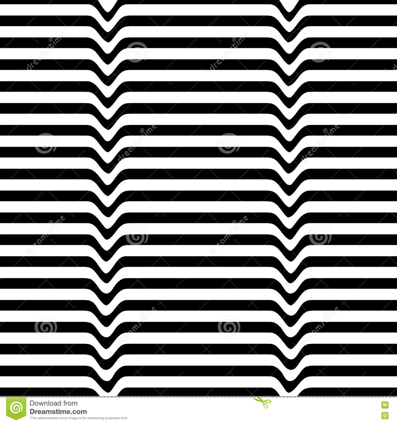 Monochrome Movement Illusion. White Black Wave Line Abstract Optical ...