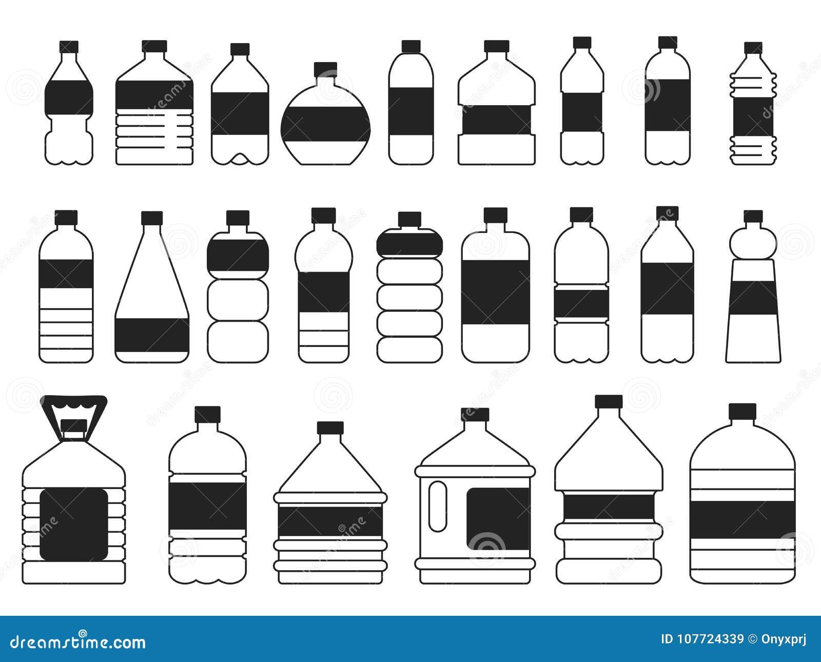 Monochrome Pictures Set Of Plastic Bottles Symbols Of Packaging