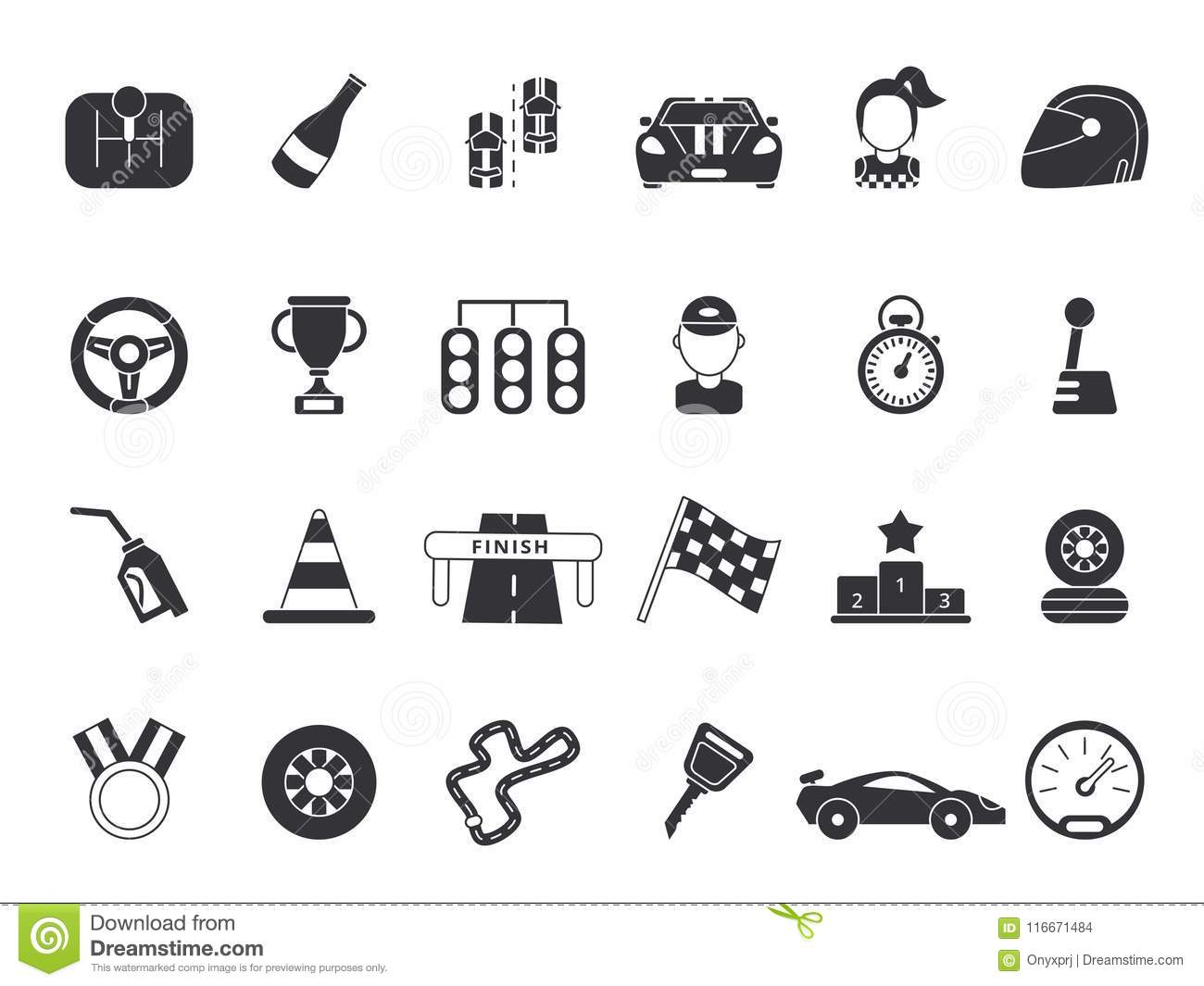 Monochrome Pictures Set Of Sport Symbols For Formula 1 And Racing