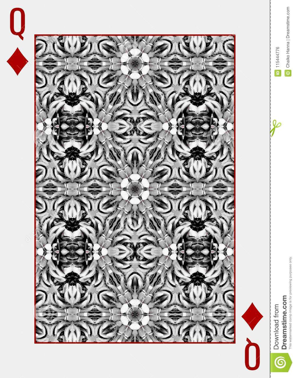 Monochrome Playing Card Back Design Queen