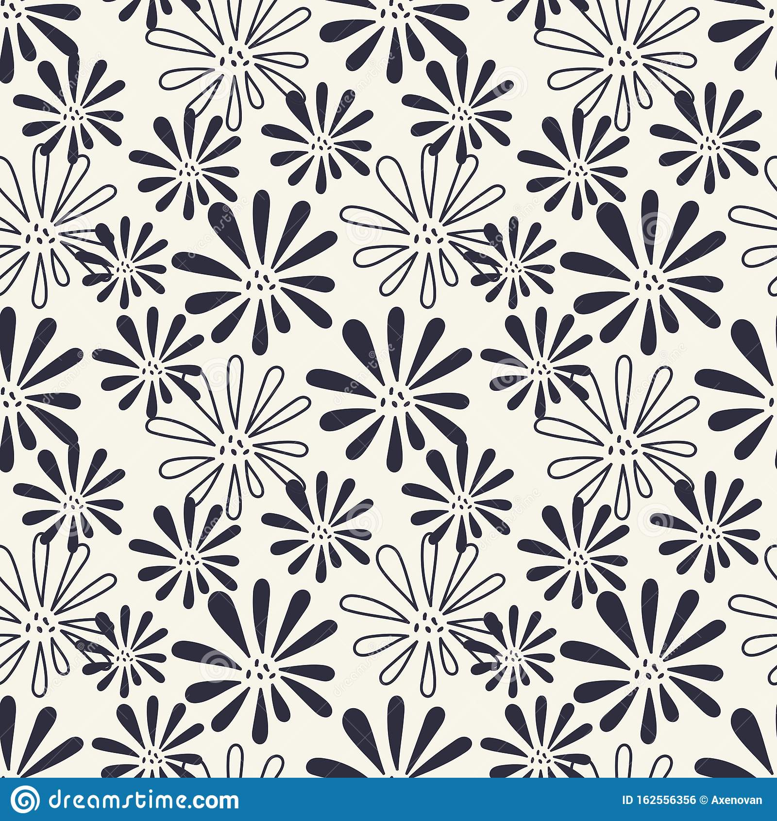 Monochrome Seamless Background Simple Flat Floral Motif