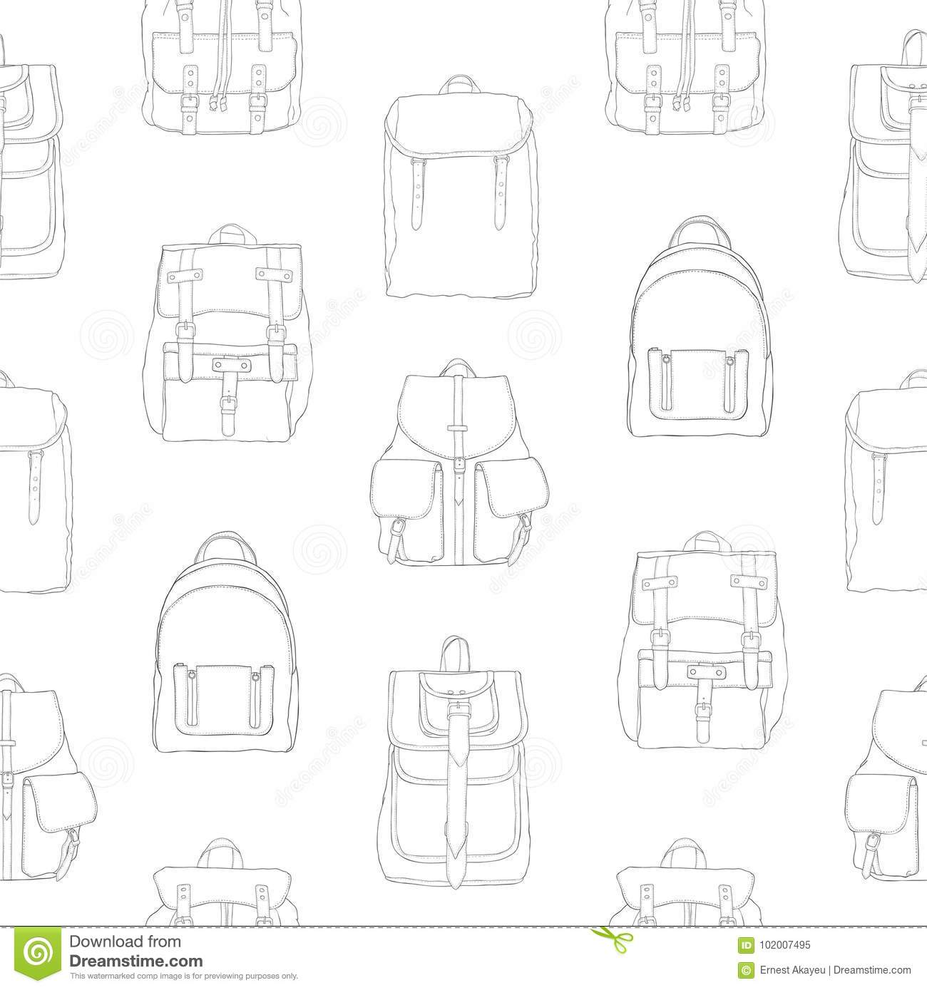 Monochrome seamless pattern with backpacks or rucksacks of different models. dd7dad8cc91f2