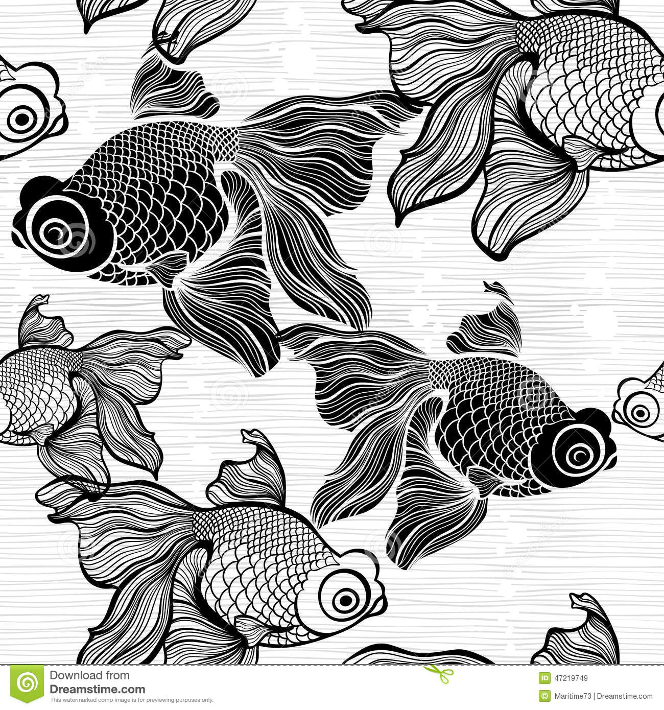White And Black Illustration: Monochrome Seamless Pattern With Fish. Black And White Il