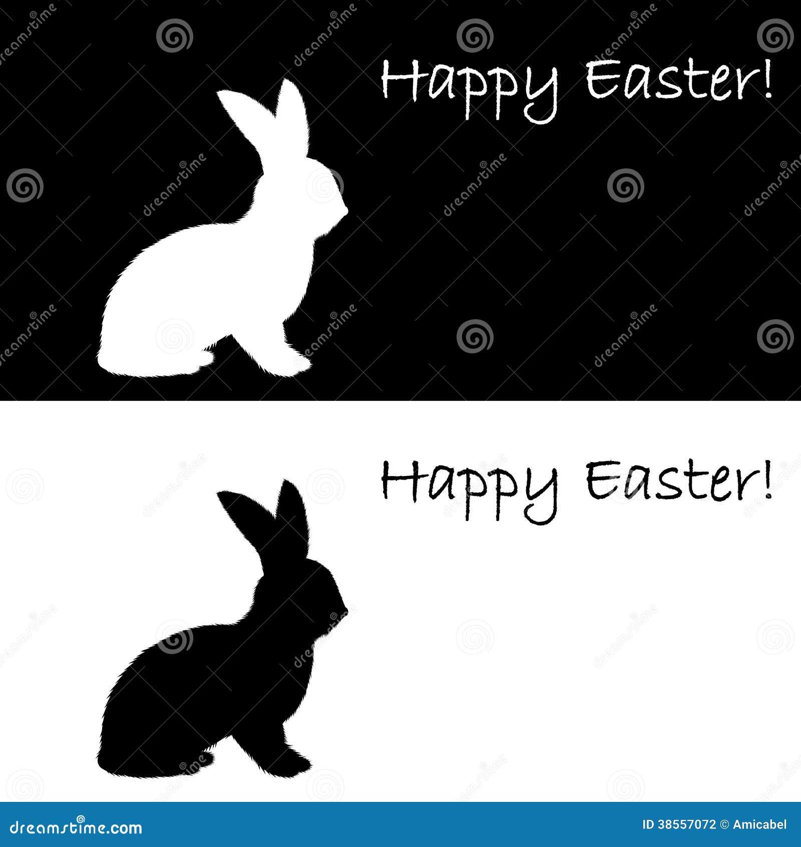 Rabbit Ears Silhouette Monochrome Silhouette ...