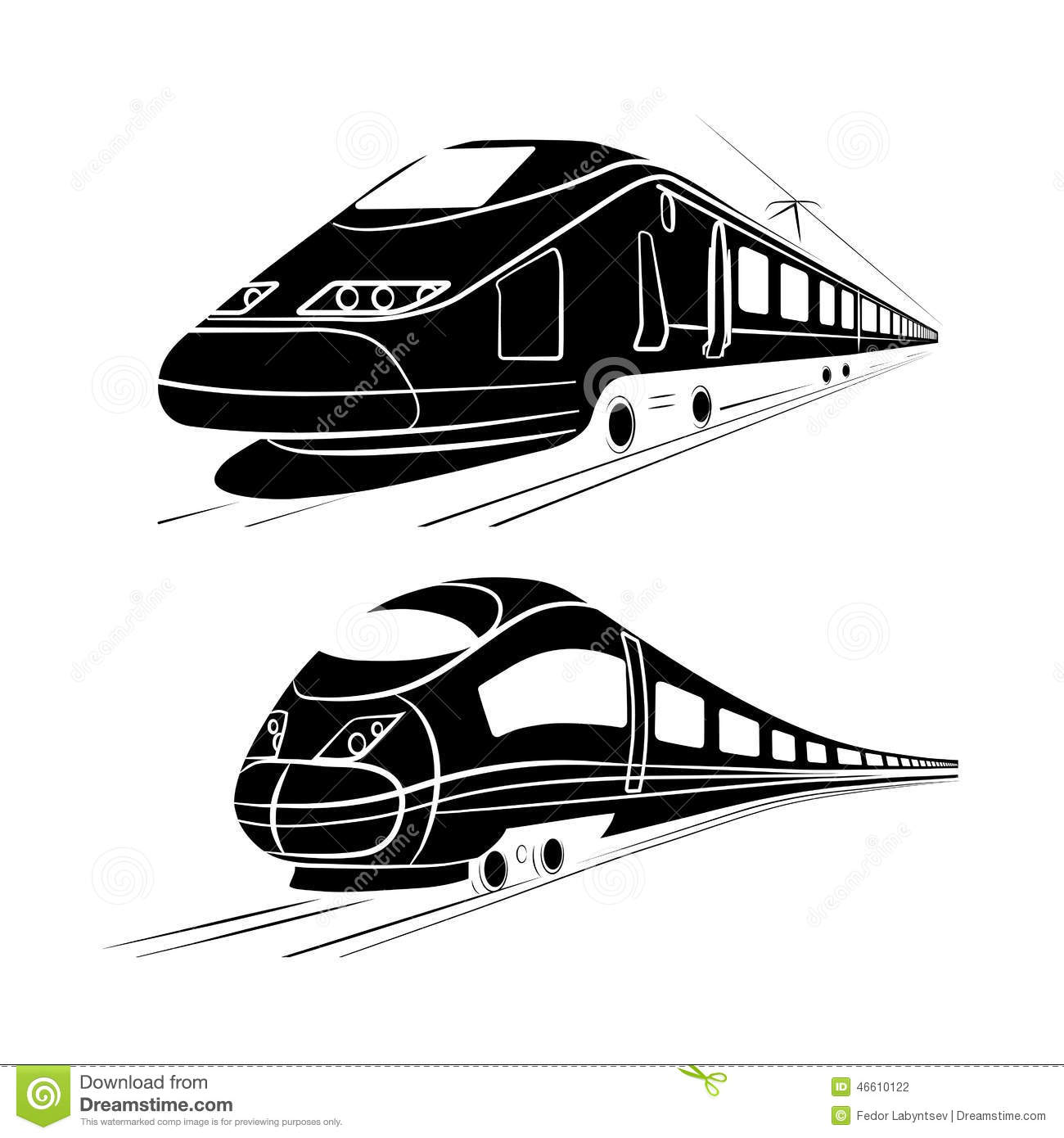 Monochrome Silhouette Of The High-speed Passenger Train ...