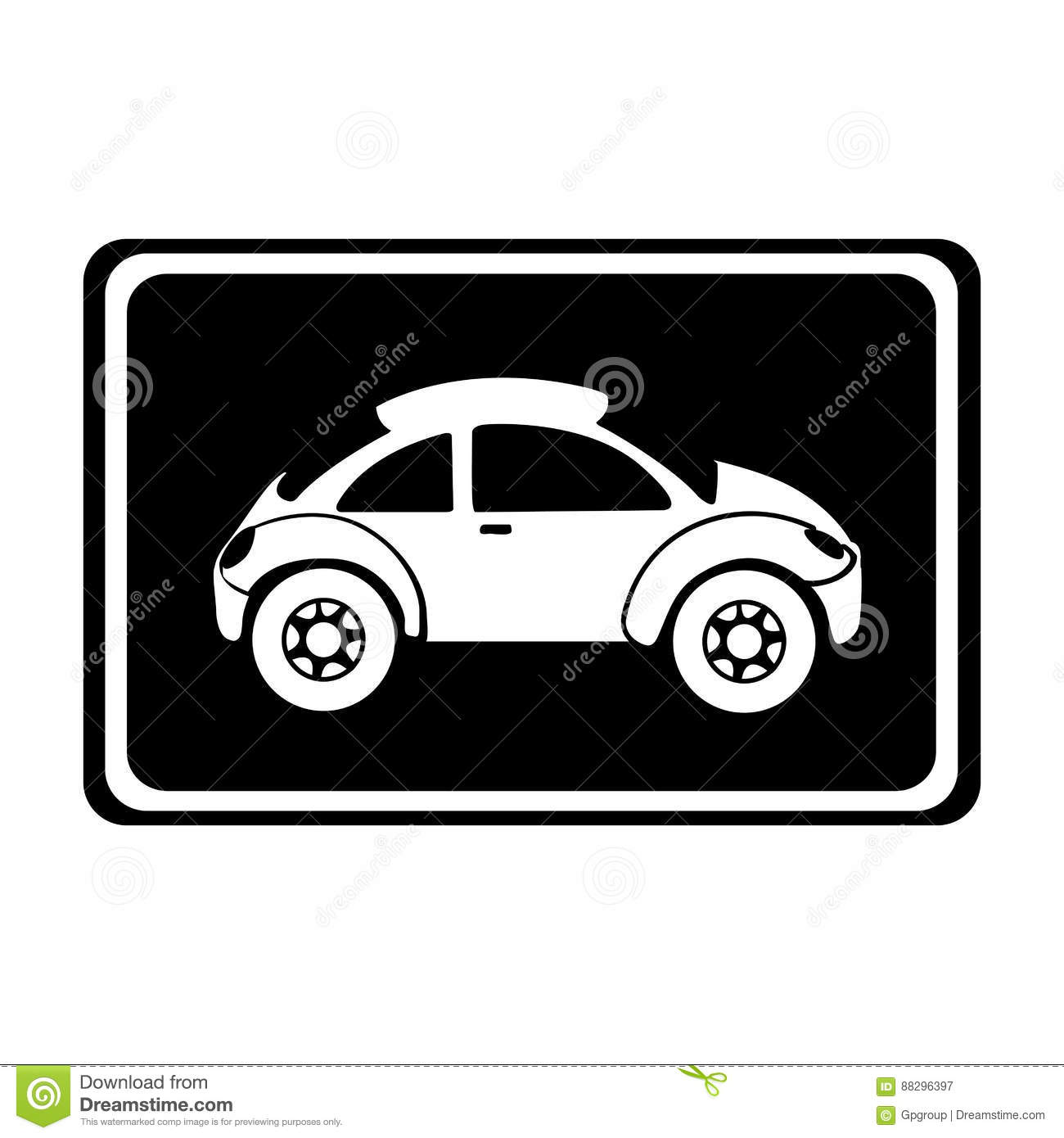 Monochrome Silhouette With Sports Car In Square Frame Stock ...