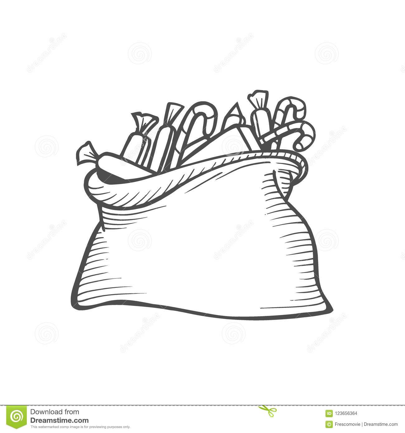 Gift Boxes In Cloth Bag Stock Vector Illustration Of Cardboard