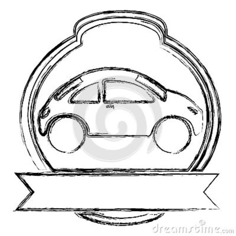 Monochrome Sketch Of Sport Car In Heraldic Round Frame And Banner