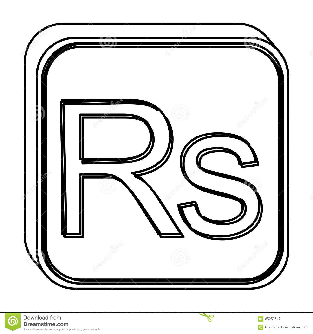Monochrome Square Contour With Currency Symbol Of India Rupee Stock