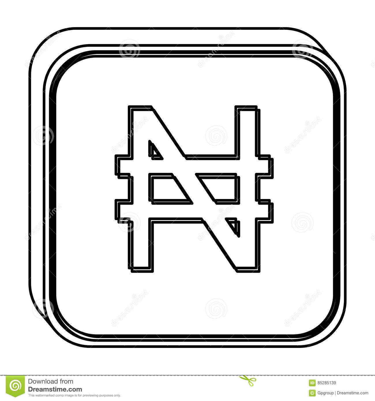 Monochrome Square Contour With Currency Symbol Of Nigerian Naira