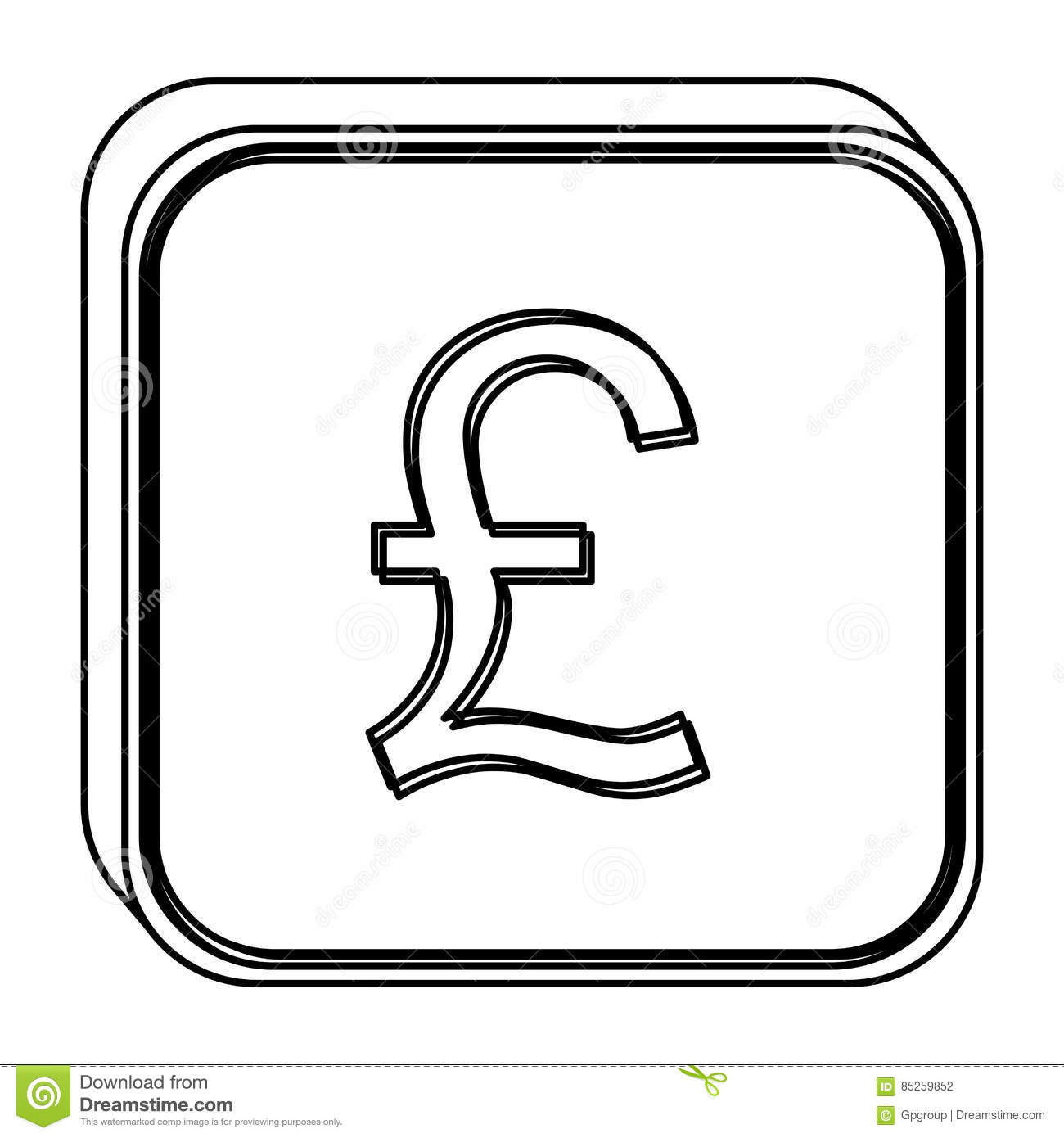 Monochrome Square Contour With Currency Symbol Of Sterling Pound