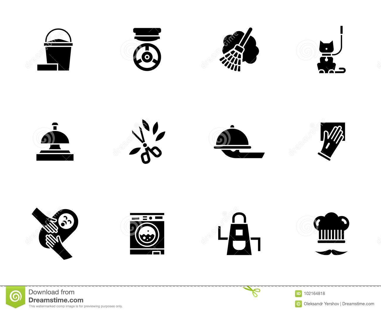 housework personnel glyph style icons set stock illustration