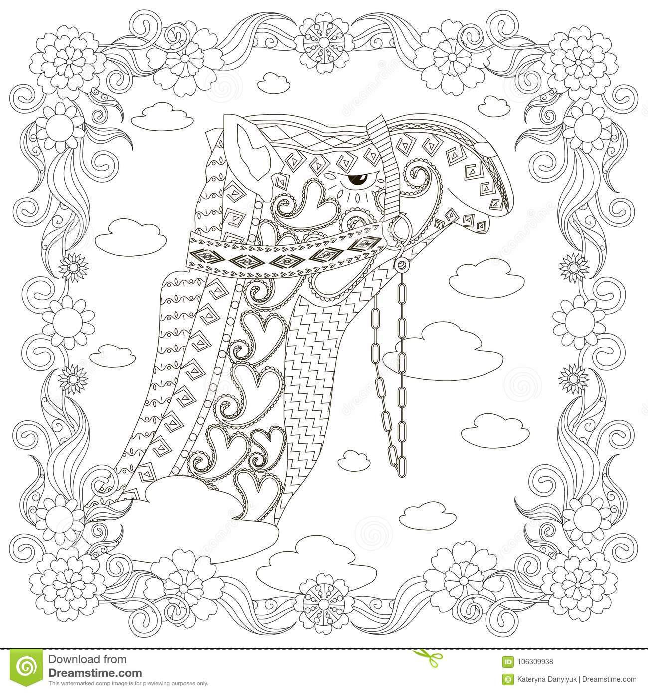 Monochrome Zentangle Style Camel Head In Flowers Frame, Coloring ...