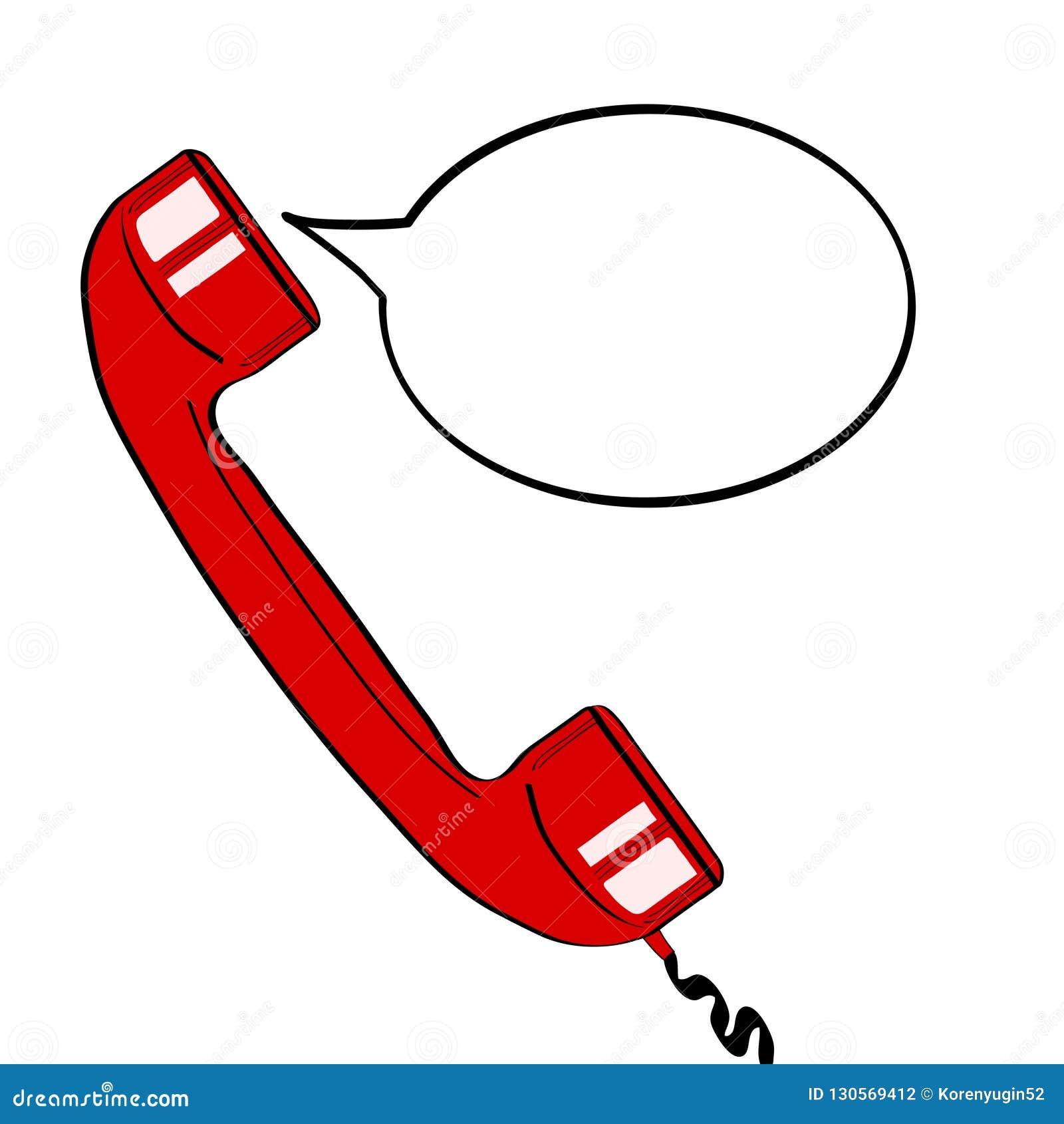 Monofone velho vermelho do telefone e bolha vazia do discurso para sua oferta VE