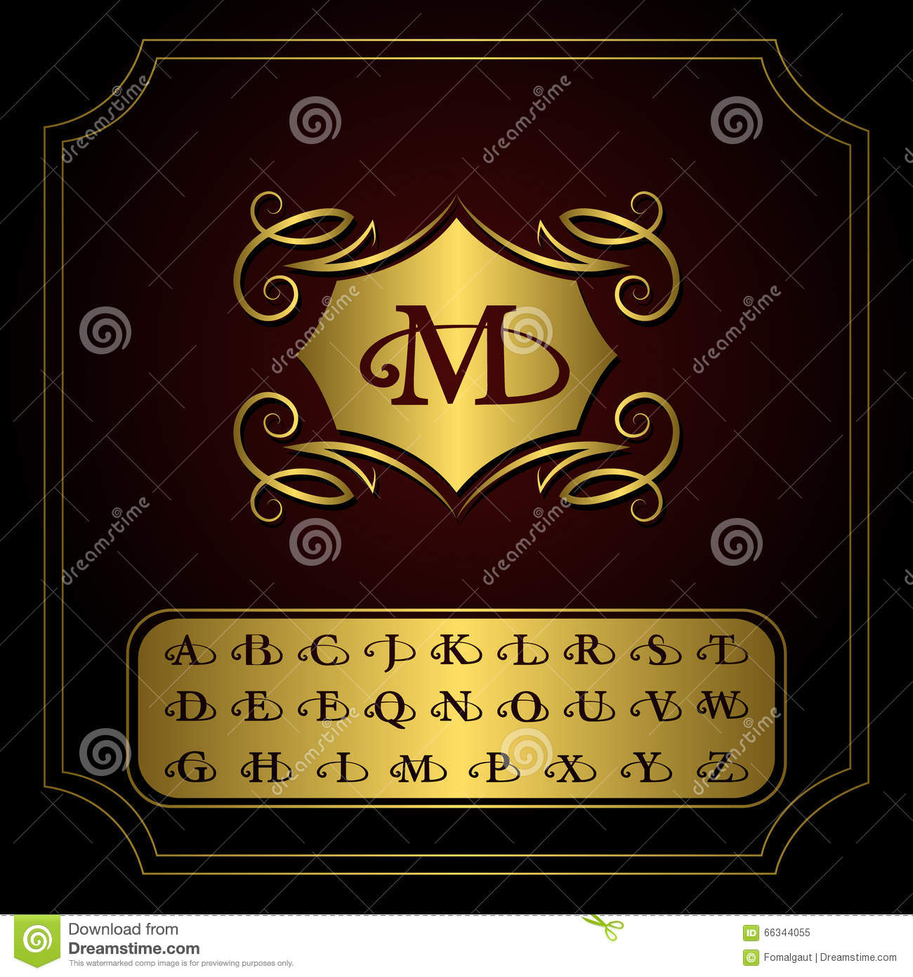 Old English Letters Template on