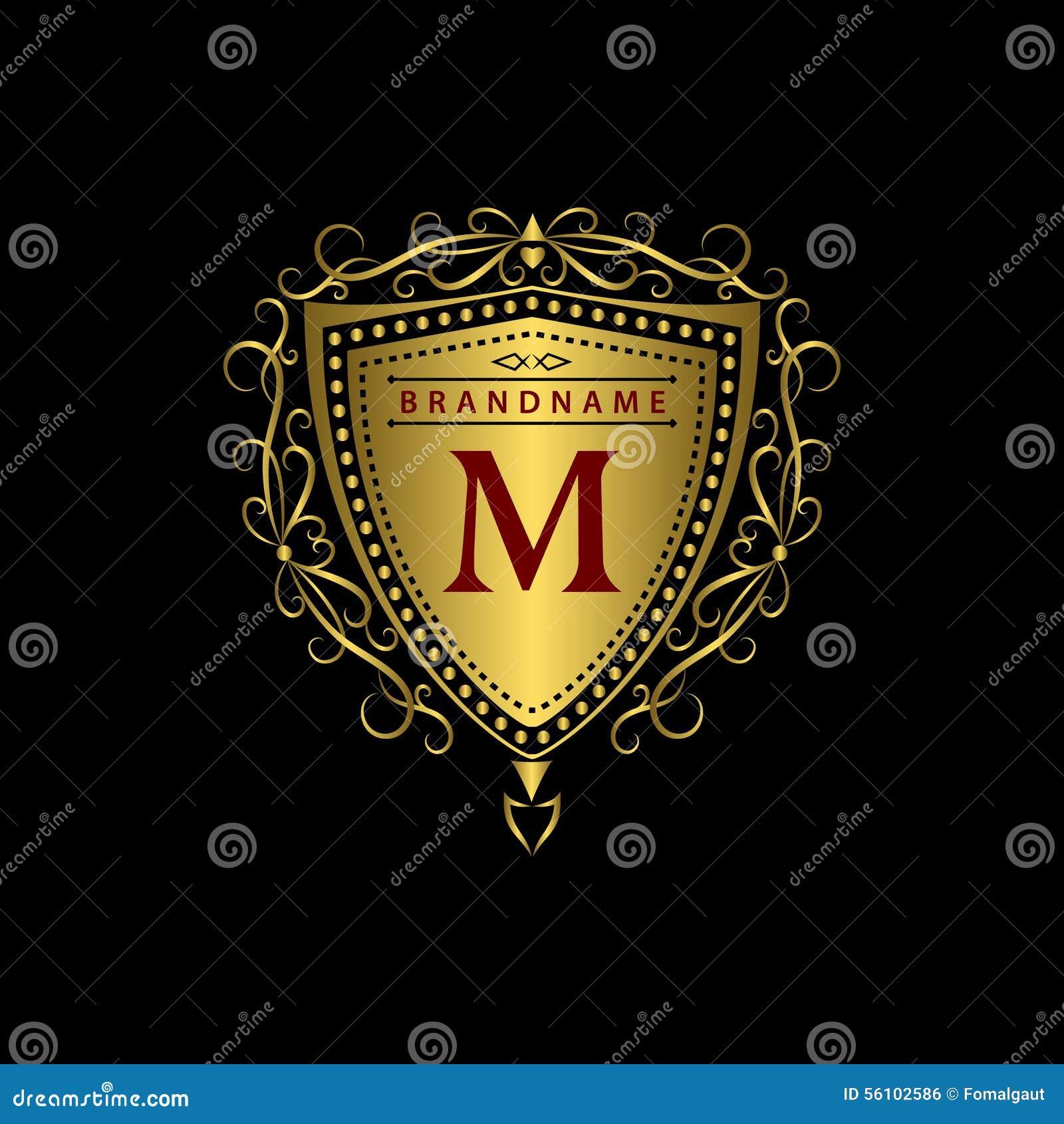 ... template. Calligraphic elegant line art logo design. Gold letter M