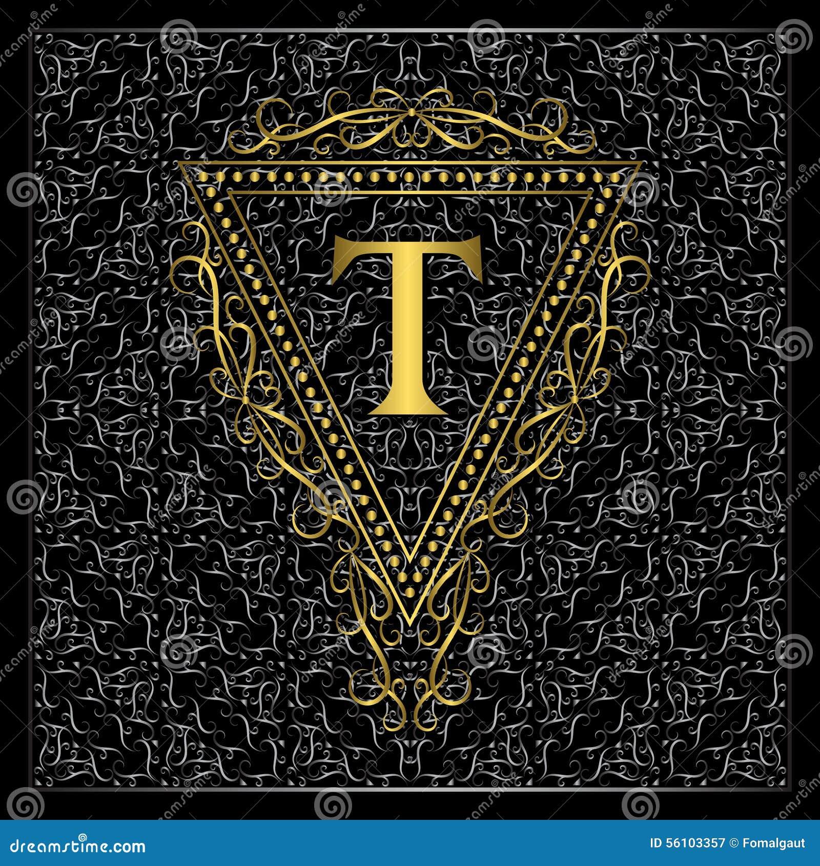 Monogram design elements graceful template calligraphic for Letter t decoration