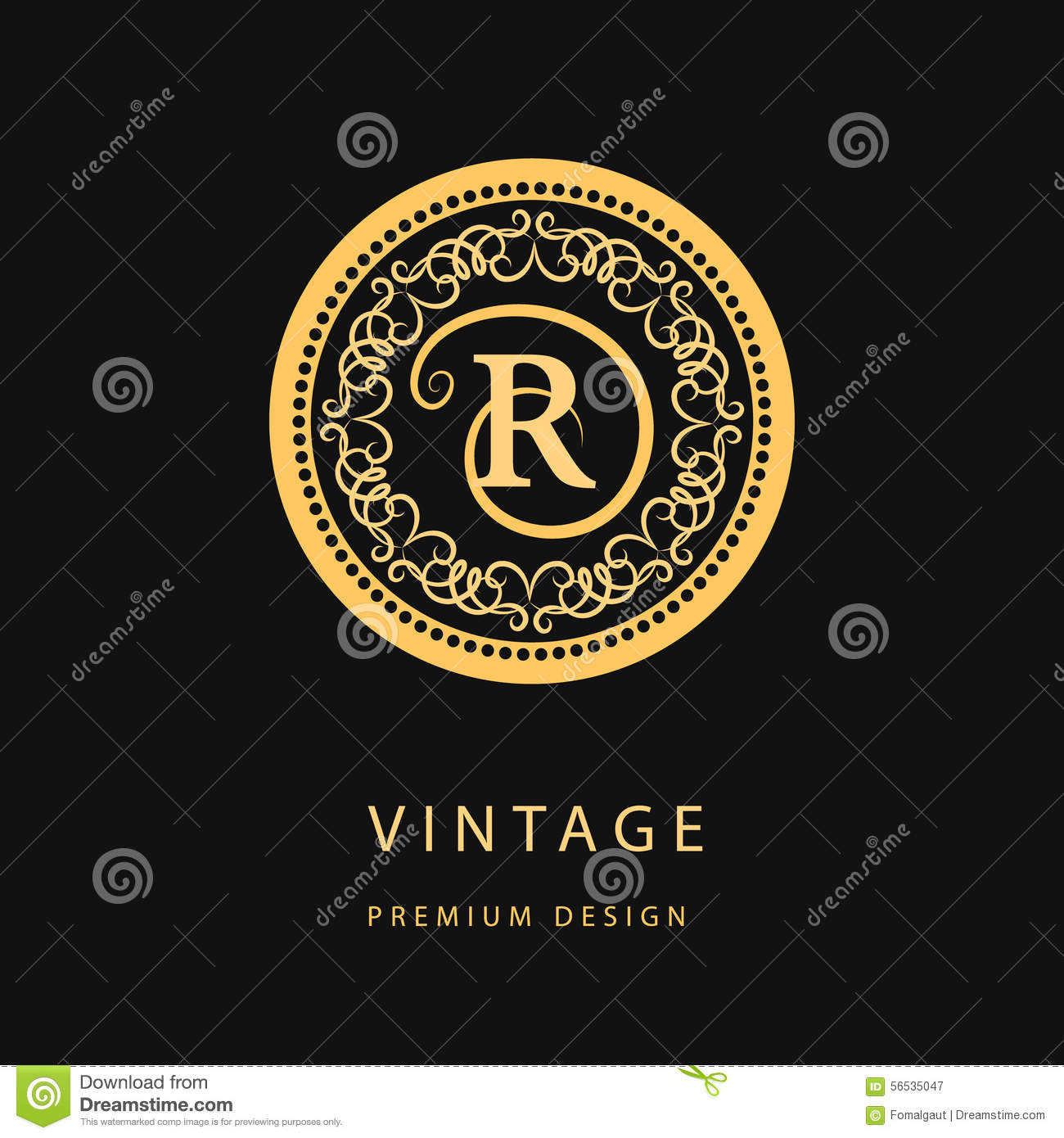 Monogram design elements, graceful template. Calligraphic elegant line art logo design. Letter emblem R for Royalty, business card