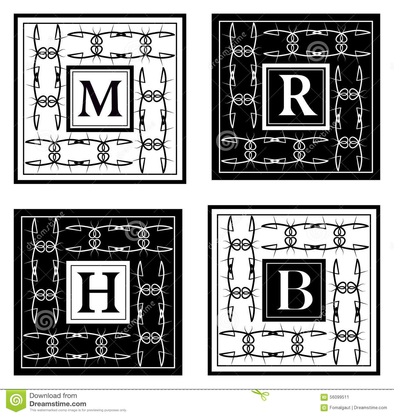 Monogram design elements graceful template elegant line for Monogram homes floor plans