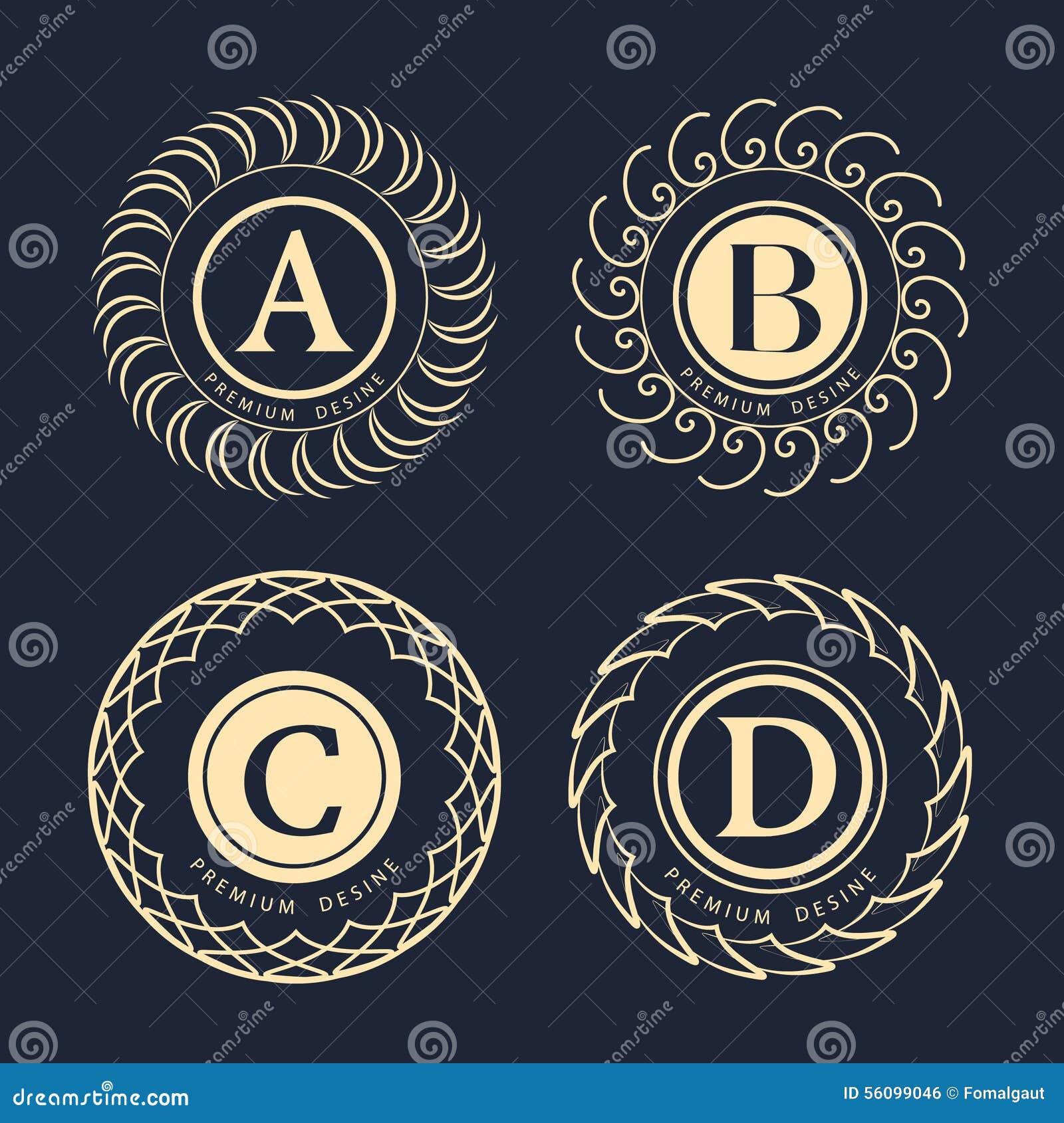 Line Art Logo Design : Monogram design elements graceful template elegant line