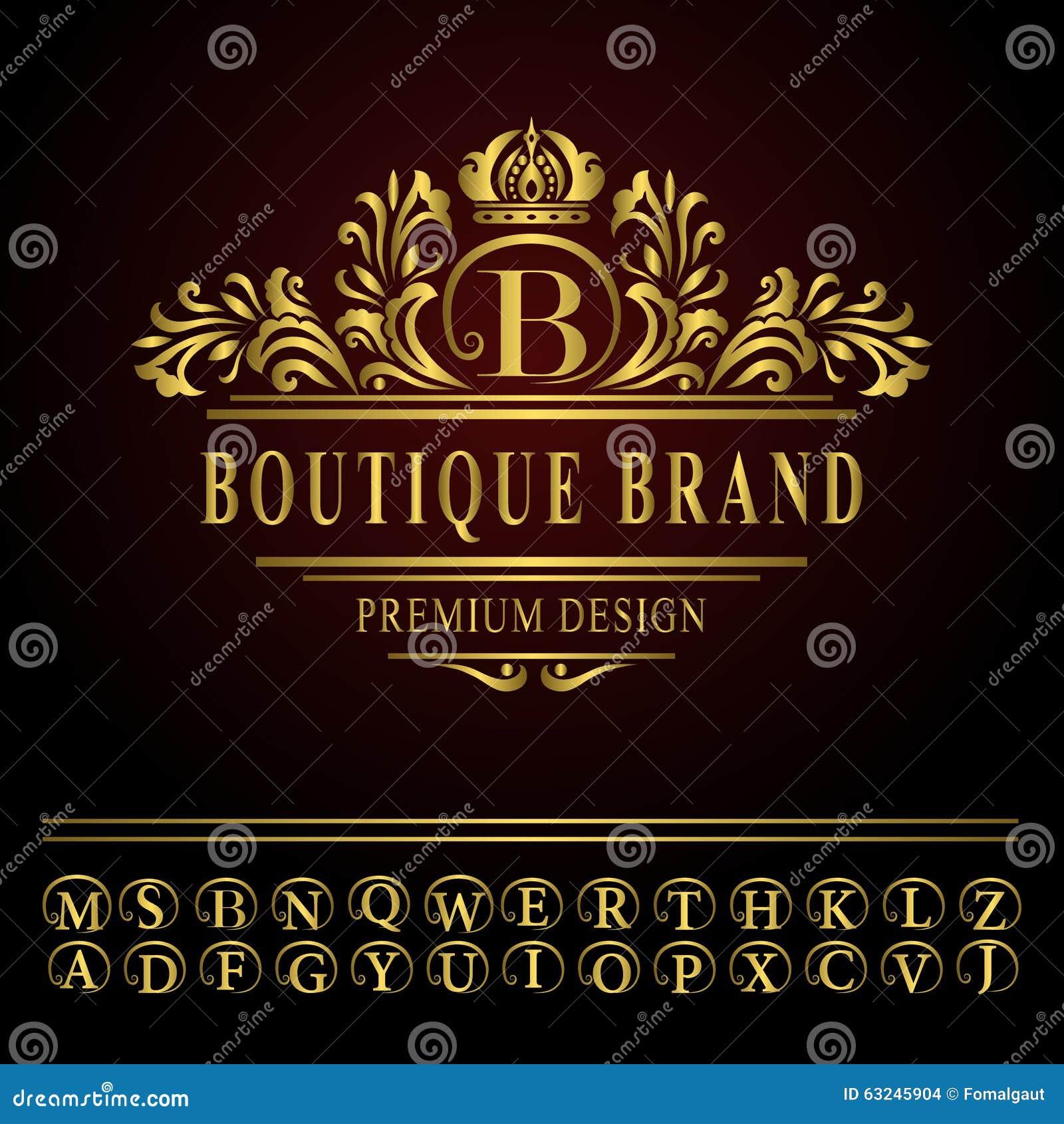 Line Art Logo Maker : Monogram design elements graceful template elegant line