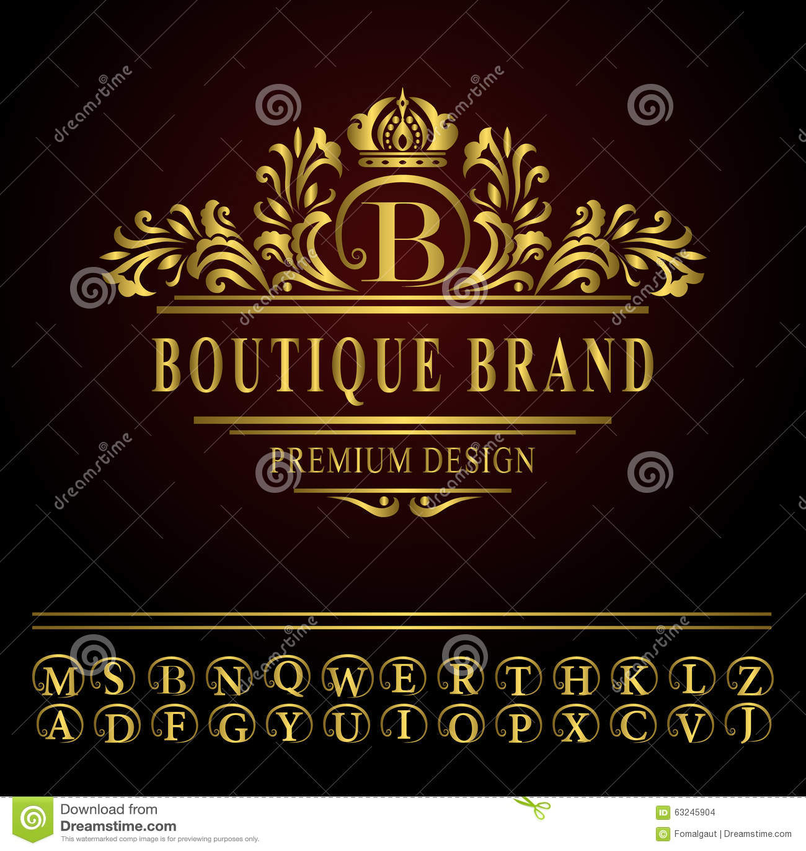 Monogram design elements, graceful template. Elegant line art logo design.