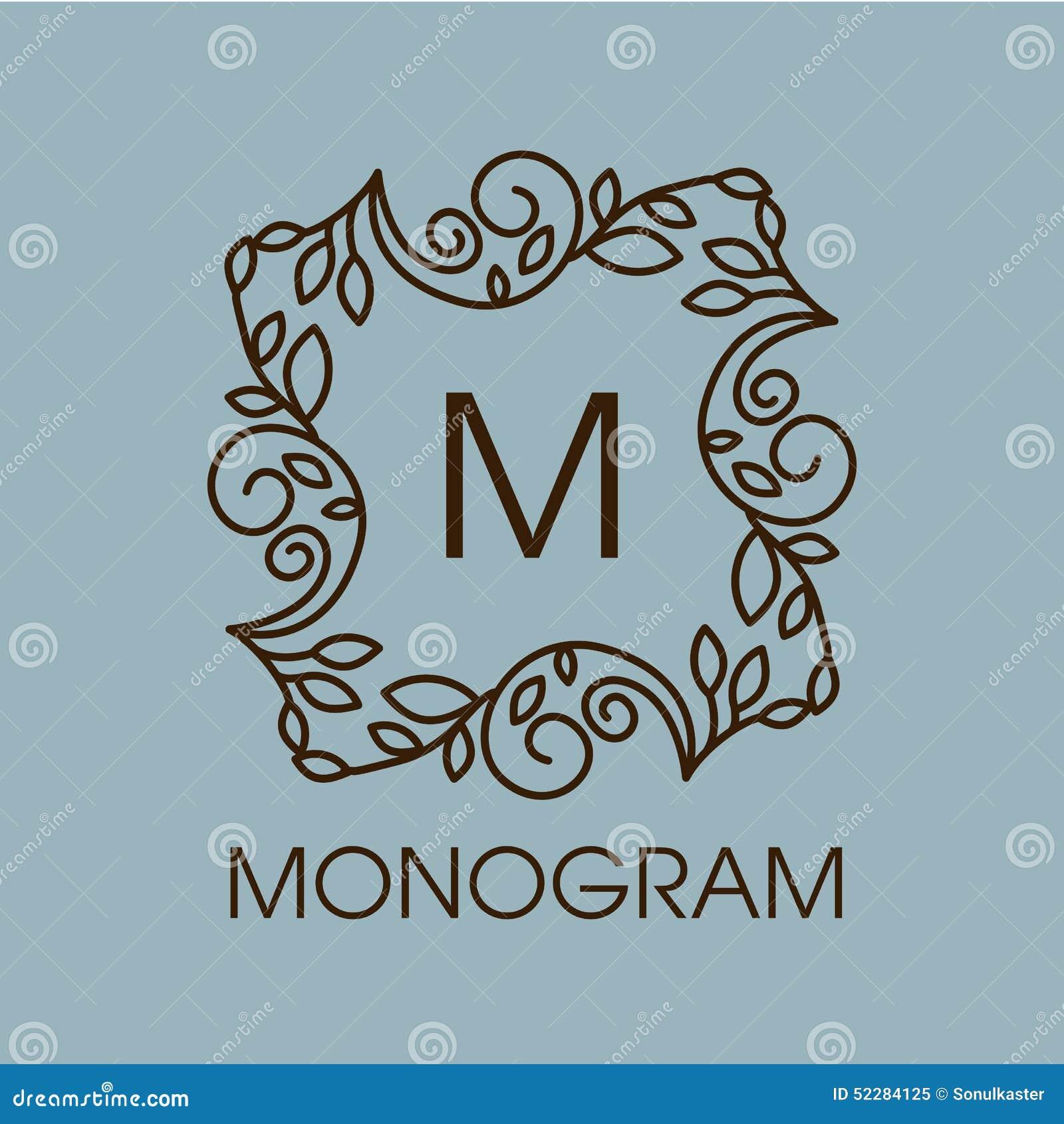 Vector floral monogram frame cartoon