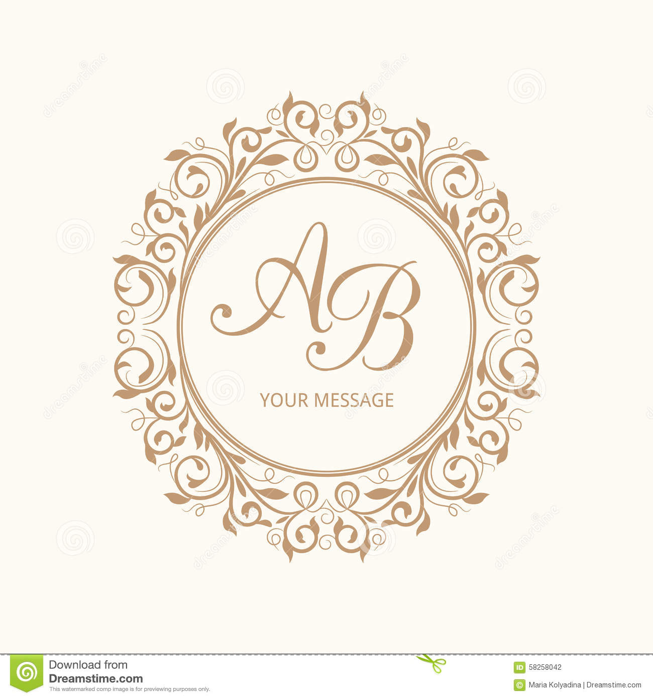 Elegant floral monogram design template for one or two letters ...