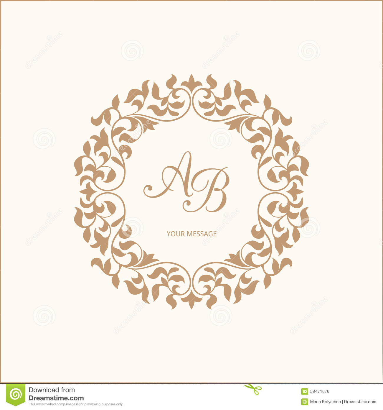 Monogram stock vector illustration of fine insignia for Free monogram template