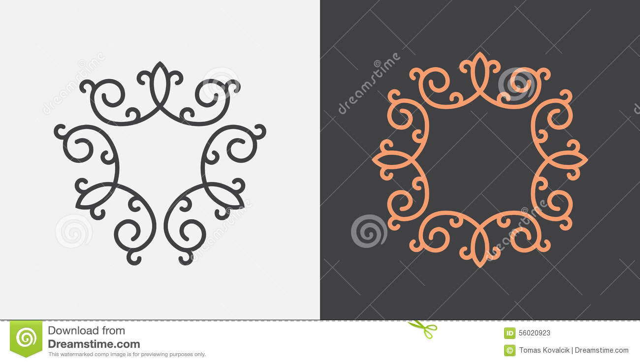 monogram frame template stock vector