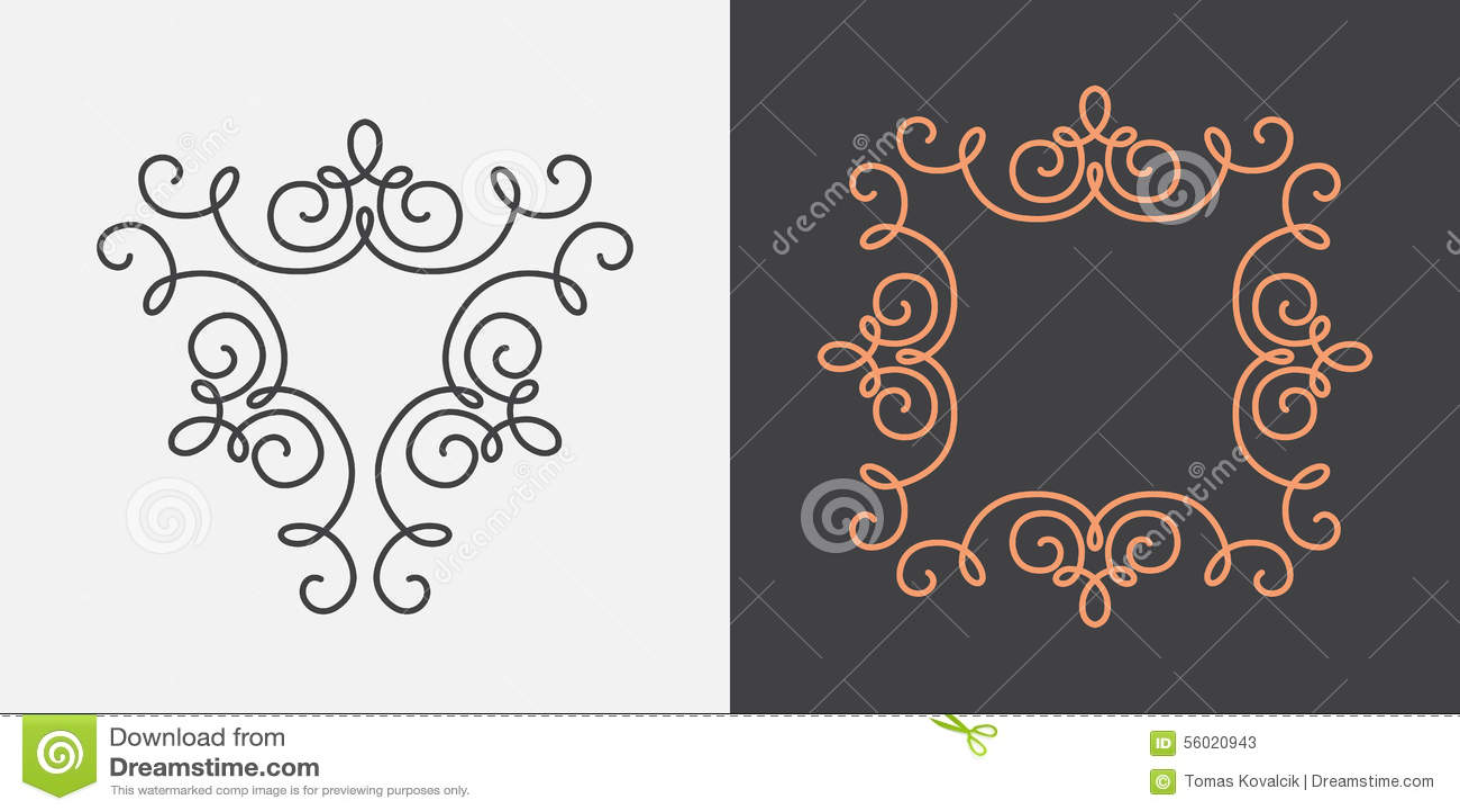monogram frame template stock vector illustration of vector 56020943