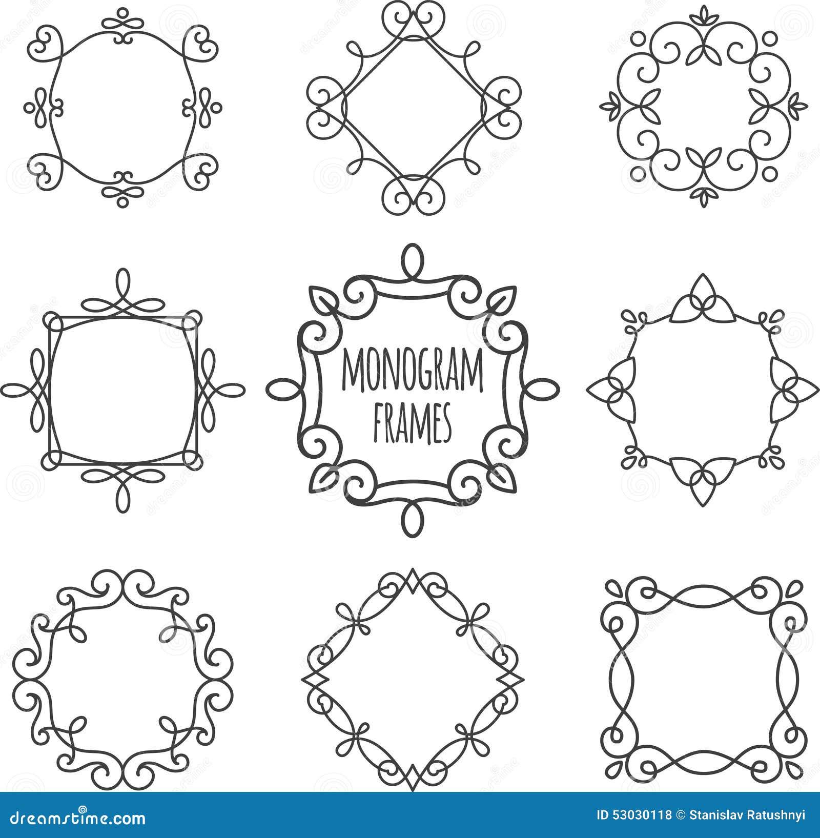 Monogram frames set stock vector. Illustration of elegant - 53030118