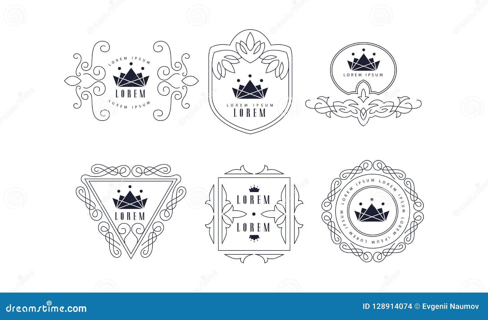 monogram logo templates set elegant stylish business sign badge