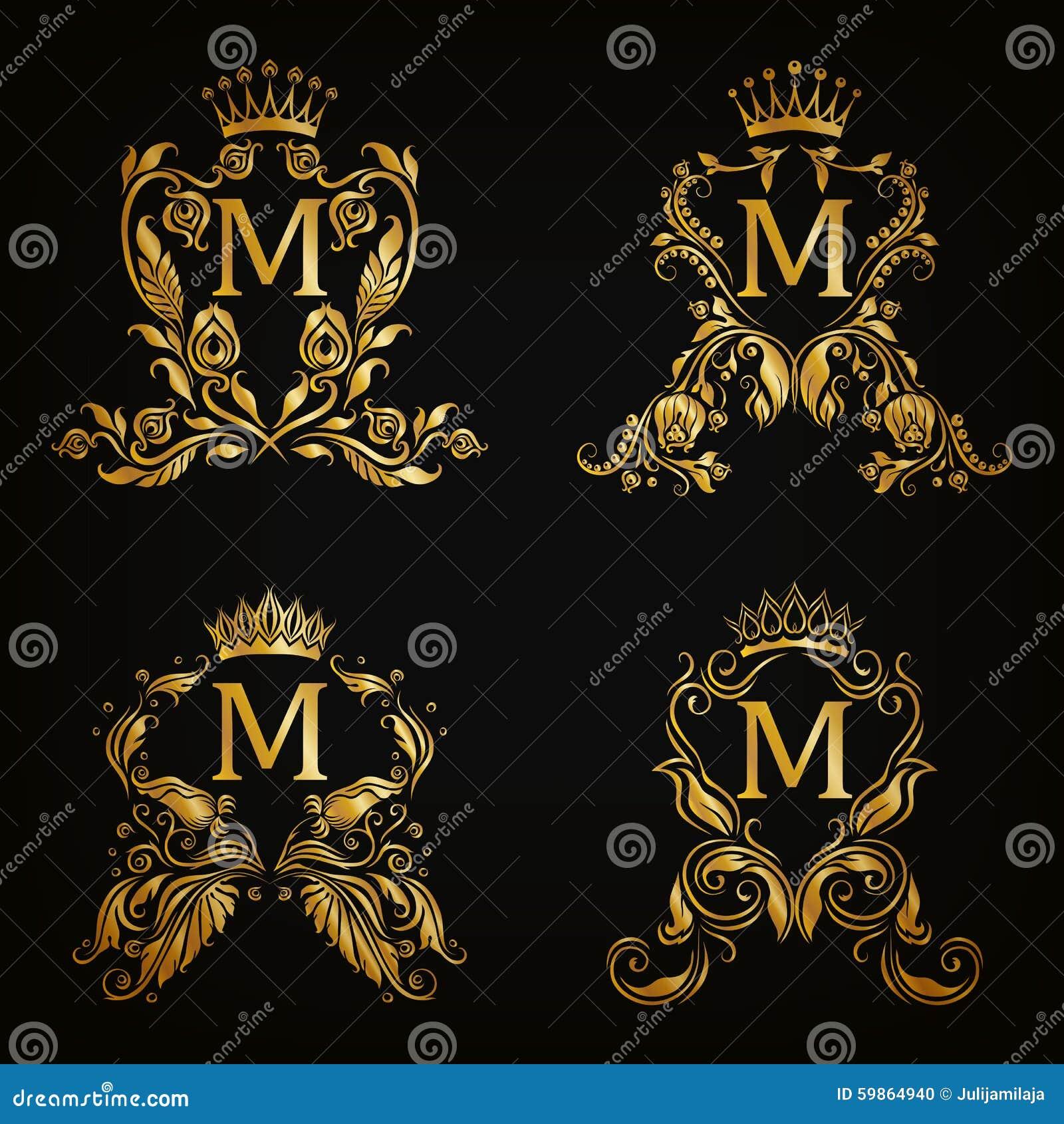 Monogram Logos Set Stock Vector