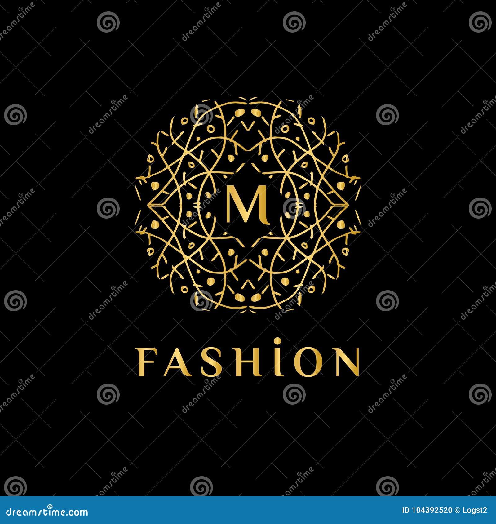 Monograma abstracto linear elegante, plantilla del vector Logotipo de lujo para el boutique o el restaurante